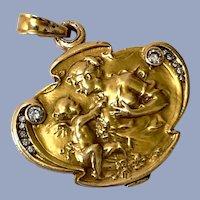 Antique Diamond 14K Gold VENUS CUPID Art Nouveau Love Pendant Locket