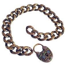 Antique Victorian 14K Gold Heart Padlock Enameled Flowers Curb Link Chain Bracelet