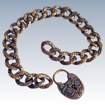 Antique Victorian 14K Gold Heart Padlock Enameled Flowers Curb Link Chain Bracelet