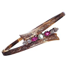 Antique Imperial Russian Ruby Diamond 14K Rose Gold Victorian Bangle Bracelet