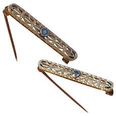 Antique Krementz 14k Gold Platinum Sapphire Edwardian Lingerie Pin Set