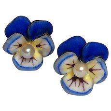 Antique Larter & Sons Pansy 14K Gold Enamel Pearl Art Nouveau Earrings