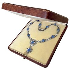 Rare Antique French Necklace in Box Sapphire Diamond Paste Fitted Case
