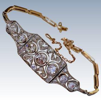 Antique Platinum Diamond 18K Gold Edwardian Art Deco Bracelet