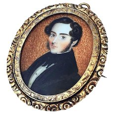 RESERVED Fine Antique Georgian Miniature Portrait Painting Mourning Brooch