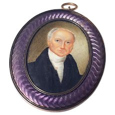 Fine Antique 19th Century Miniature Portrait Painting Guilloche Enamel Frame Mourning Pendant
