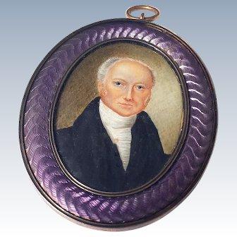 Fine Antique 19th Century Miniature Portrait Painting Guilloche Enamel Frame Mourning Pendant