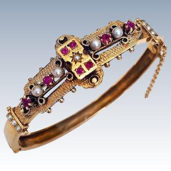 Antique Edwardian Ruby Cultured Pearl 14K Gold Hinged Bangle Bracelet