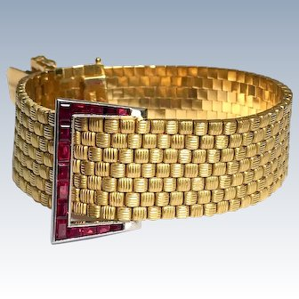 Retro Natural Ruby Calibre-Cut 18K Gold Vintage Art Deco Bracelet 64 grams!