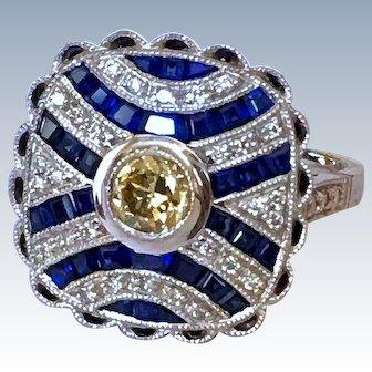 Art Deco Diamond Sapphire 18k White Gold Vintage Ring