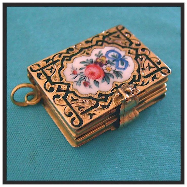 Rare antique 14k gold victorian enamel book locket pendant fob red rare antique 14k gold victorian enamel book locket pendant fob red tag sale item aloadofball Images