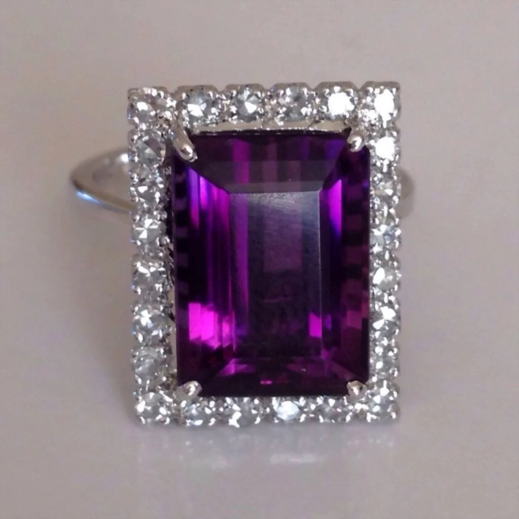 Retro Diamond Vivid Purple Amethyst 14k White Gold Vintage