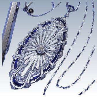 Rare Antique Platinum Convertible Diamond Sapphire Belle Epoque Necklace Pendant Brooch
