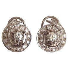 Art Deco Platinum 1.50CT Diamond Earrings