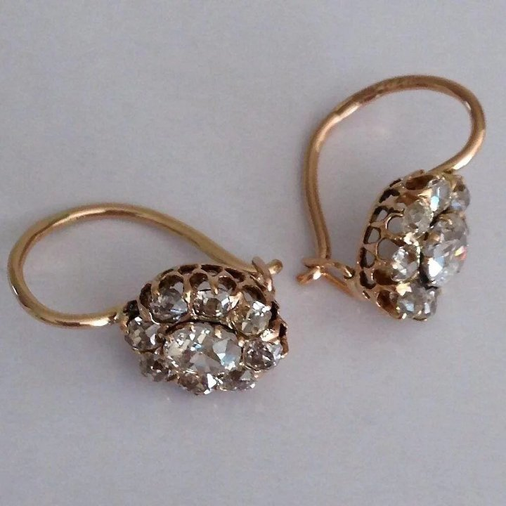 Antique Russian Diamond Cer 1 65 Ct 14k Gold Victorian Earrings