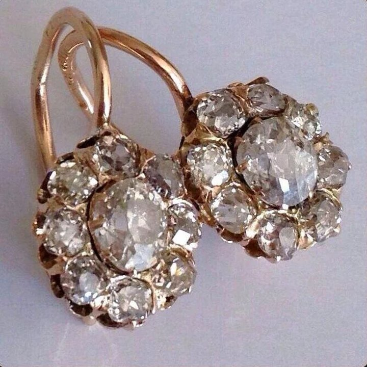Antique Russian Diamond Cer 1 75 Ct 14k Gold Victorian Earrings
