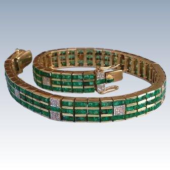 Art Deco 7 Carat Emerald Diamond 14K Gold Vintage Strap Bracelet