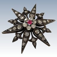 Antique French 1.25CT Diamond Ruby Gothic Victorian Starburst Pendant