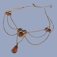 Grand Antique 18K Gold Citrine Art Nouveau Clover Festoon Drop Necklace