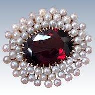Antique Signed A.J. Hedges 14K Gold Garnet Pearl Victorian Brooch