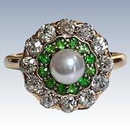 Antique Belle Époque Demantoid Garnet Diamond Cluster 18K Gold Edwardian Ring