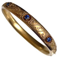 Antique Edwardian 14K Gold Sapphire Bangle Bracelet