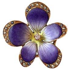 Antique Art Nouveau Diamond Enamel Pearl 14K Gold Violet Flower Brooch Pin