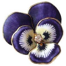 Antique Art Nouveau Enamel Diamond 14K Gold Pansy Flower Brooch Pin