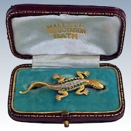 Antique Diamond Demantoid Garnet 14K Gold Lizard Brooch