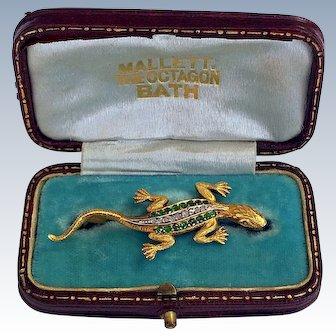 Antique Diamond Demantoid Garnet 14K Gold Salamander Lizard Brooch Fitted Box