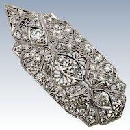 Antique Platinum 5CT Old European Cut Diamond Edwardian Art Deco Pendant Brooch