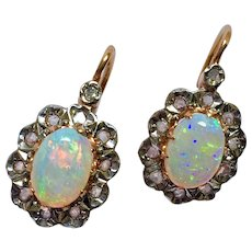 Antique French Victorian Diamond Opal 18K Gold Earrings