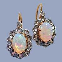 Antique French Victorian 18K Gold Diamond Opal Earrings