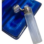Antique French Aesthetic Silver Engraved Crystal Scent Perfume Bottle Fitted Box 19th Century