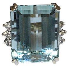 Vintage Aquamarine Diamond 14K White Gold Ring