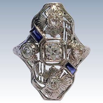 Art Deco Old European Cut Diamond Sapphire 18K White Gold Vintage 1920 Ring