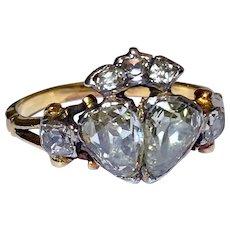 Rare Antique Georgian Diamond Wedding Engagement Crown Heart Ring 18K Gold 18th Century