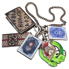 Antique Imperial Russian Enamel Silver Fob Charms Art Nouveau Postage Stamps