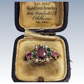 Antique Victorian 15CT Gold Amethyst Emerald Pearl Suffragette Ring