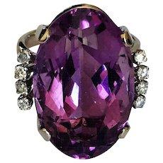 Retro Art Deco Amethyst Diamond 14K White Gold Vintage Ring