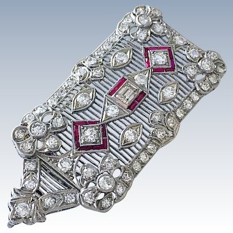 Antique Platinum DIAMOND RUBY Edwardian Brooch Pendant Belle Epoque