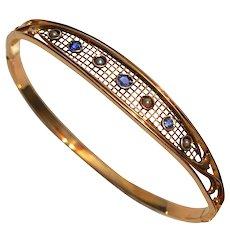 Antique Edwardian Sapphire Pearl 14K Gold Bangle Bracelet