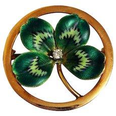 Antique Art Nouveau Enamel Diamond 14k Gold Clover Shamrock Brooch Pin