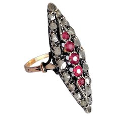 Antique Victorian Ruby Diamond 14K Gold Silver Ring