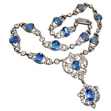 Rare Antique French Sapphire Diamond Paste Victorian Necklace Fitted Box