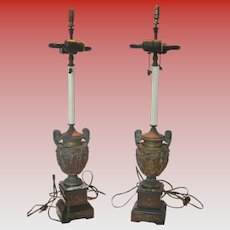Antique French Gilt Metal & Marble Repousse Urn Lamps