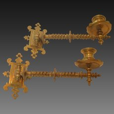 Pair of Antique Brass Swivel Arm Conale Wall Sconces