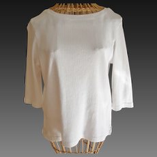 Pierre Cardin White Cotton Knit Blouse