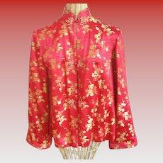 Vintage Ying Tai Co. Red Silk Brocade Ladies Jacket