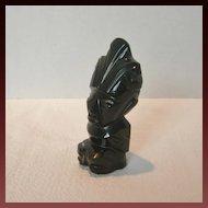 Vintage Aztec Obsidian Carved Statue